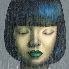 GIRL WITH GREEN LIP PAINT 140x140 - PAINTINGS