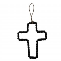 WOOD PEARL CROSS BLACK