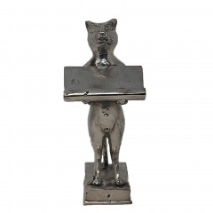 TRAY STATUE CAT CARDBRASS SILVER COLORED
