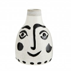 VASE FACE PRINT WHITE AND BLACK STONEWARE