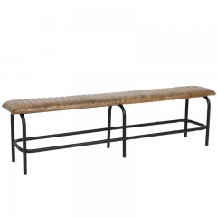 BENCH ANTIQUE BROWN LEATHER   - BENCHES