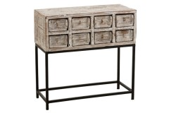 CONSOLE 8 DRAWER WHITE WASHED - CONSOLS, DESKS