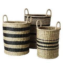 BASKET NATURAL BLACK STRIPES SET OF 3