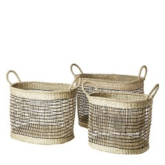 OVAL SEAGRASS BASKET SET OF 3 NATURAL
