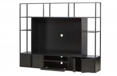 TV CABINET BLACK METAL WITH SHELVES