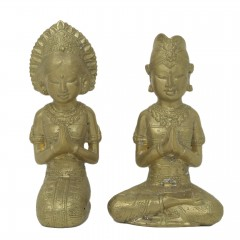 COUPLE PRAYER BRONZE GOLDEN COLOR