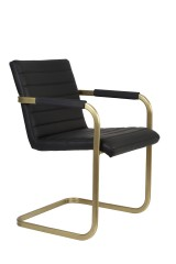 DINING CHAIR WITH ARM BLACK GOLD