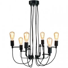 CHANDELIER BLACK METAL 6 ARM WITH TEXTIL WIRE