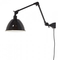 WALL LAMP WITH BLACK METAL SHADE DOUBLE ARM