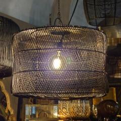 BLACK CYL LAMP RATTAN