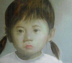 ASIAN PIGTAILED LITTLE GIRL - PAINTINGS