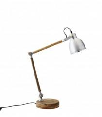 Wood Table Lamp with Aluminium Shade