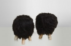 Sheepskin Stool Black