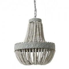 HANGING LAMP WOOD BEADS OLD WHITE