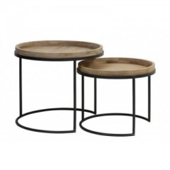 SIDETABLE WOODEN TRAY TOP ZINK LEG 2 SIZES     - CAFE, SIDETABLES